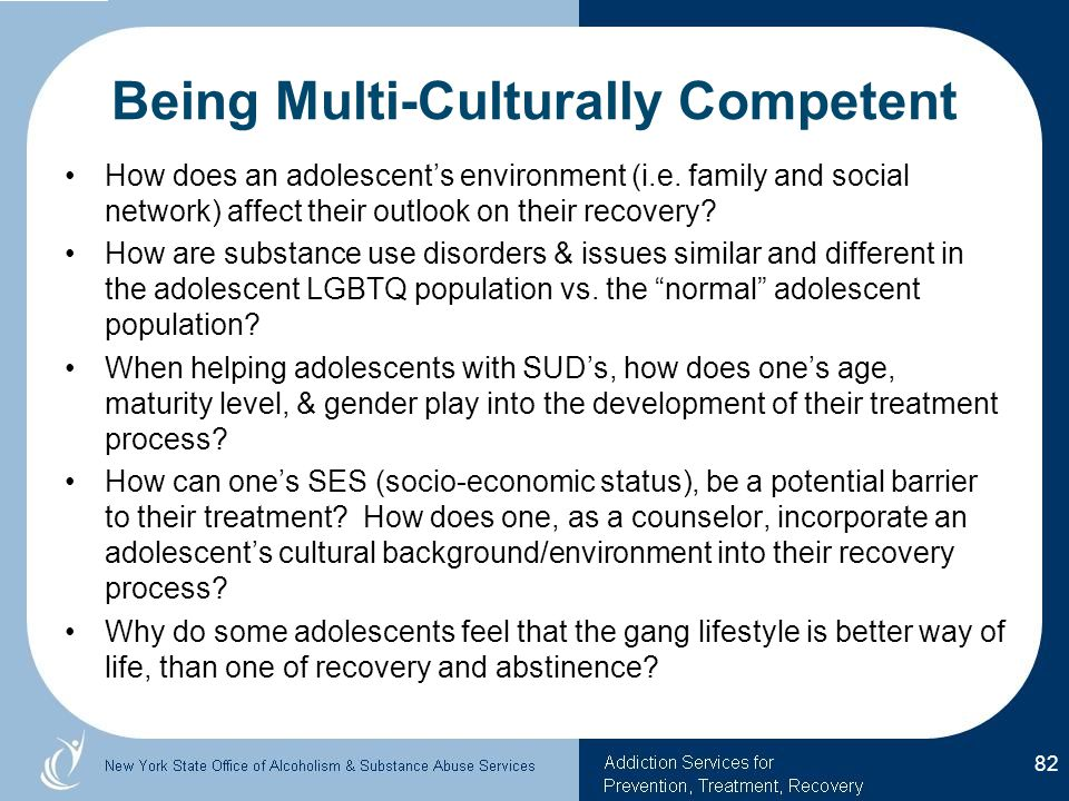 Being Multi-Culturally Competent How does an adolescent's environment (i.e.