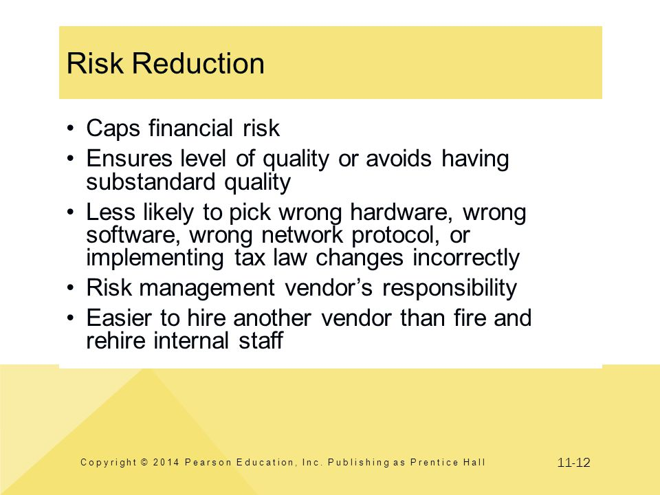 11-12 Risk Reduction Copyright © 2014 Pearson Education, Inc. Publishing as Prentice Hall Caps financial risk Ensures level of quality or avoids havin