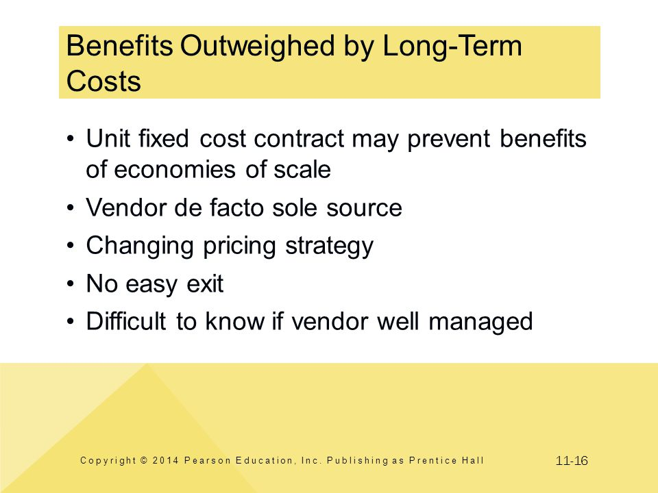 11-16 Benefits Outweighed by Long-Term Costs Copyright © 2014 Pearson Education, Inc. Publishing as Prentice Hall Unit fixed cost contract may prevent