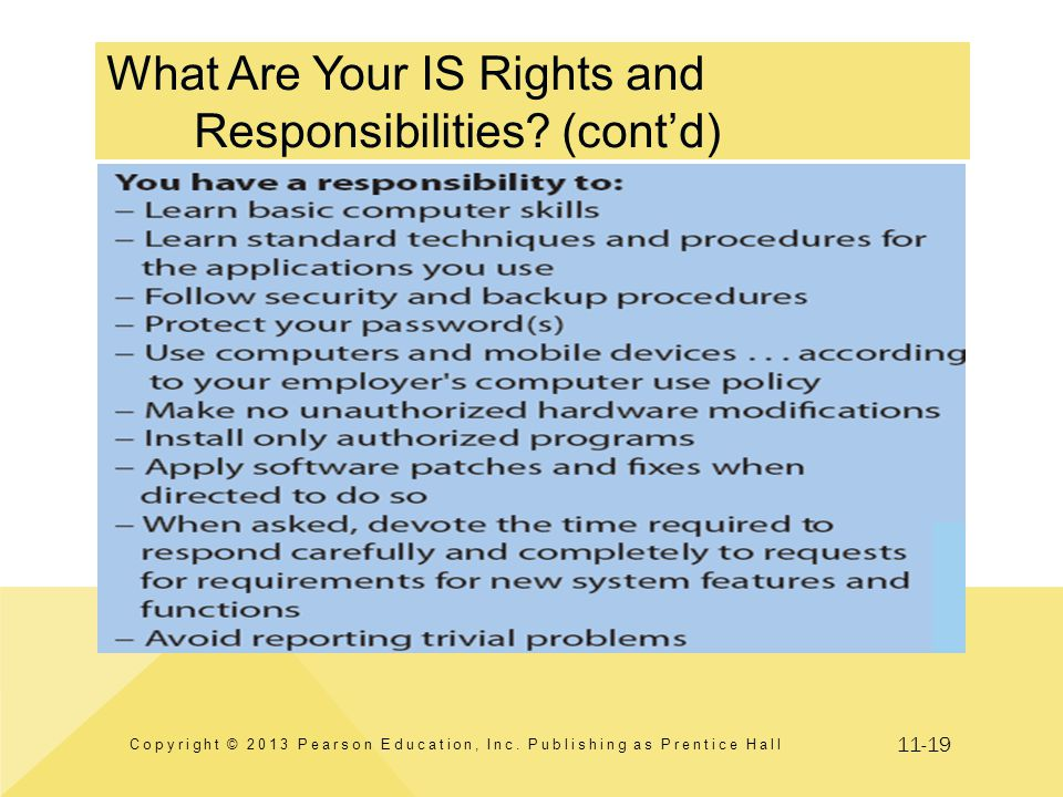 11-19 What Are Your IS Rights and Responsibilities? (cont'd) Copyright © 2013 Pearson Education, Inc. Publishing as Prentice Hall