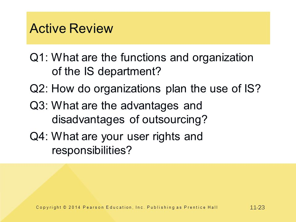11-23 Active Review Copyright © 2014 Pearson Education, Inc. Publishing as Prentice Hall Q1: What are the functions and organization of the IS departm