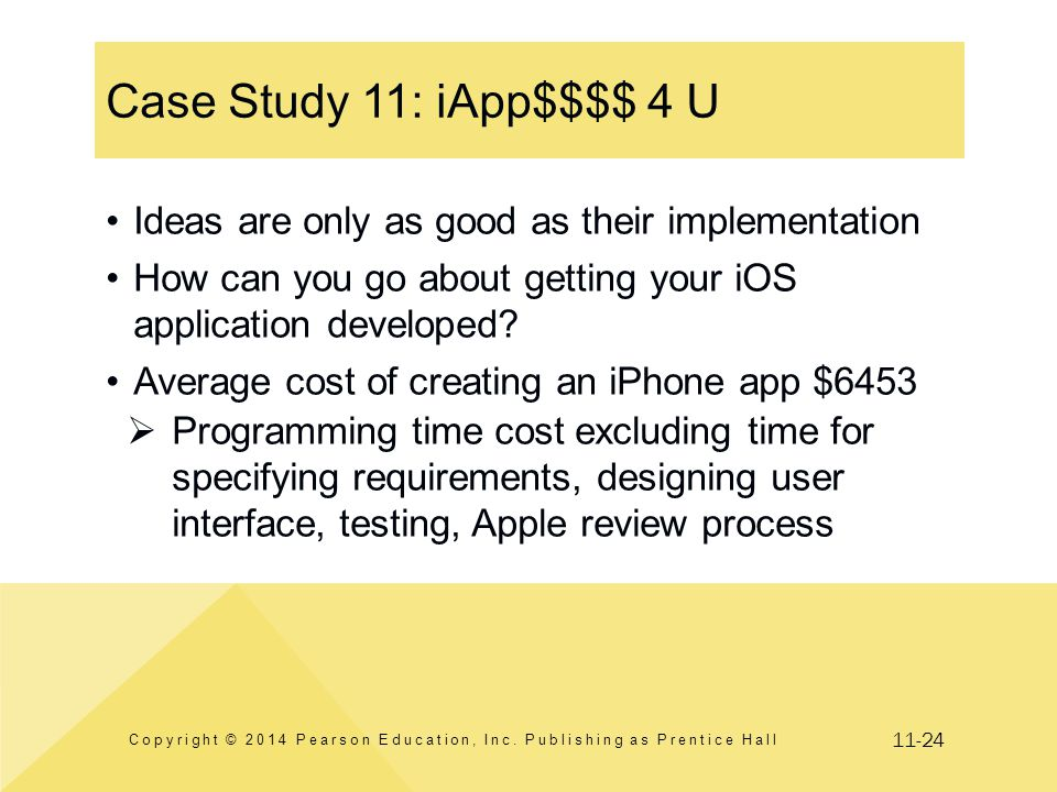 11-24 Case Study 11: iApp$$$$ 4 U Copyright © 2014 Pearson Education, Inc. Publishing as Prentice Hall Ideas are only as good as their implementation