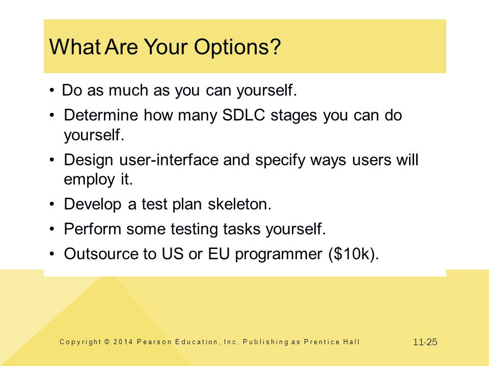 11-25 What Are Your Options? Copyright © 2014 Pearson Education, Inc. Publishing as Prentice Hall Do as much as you can yourself. Determine how many S