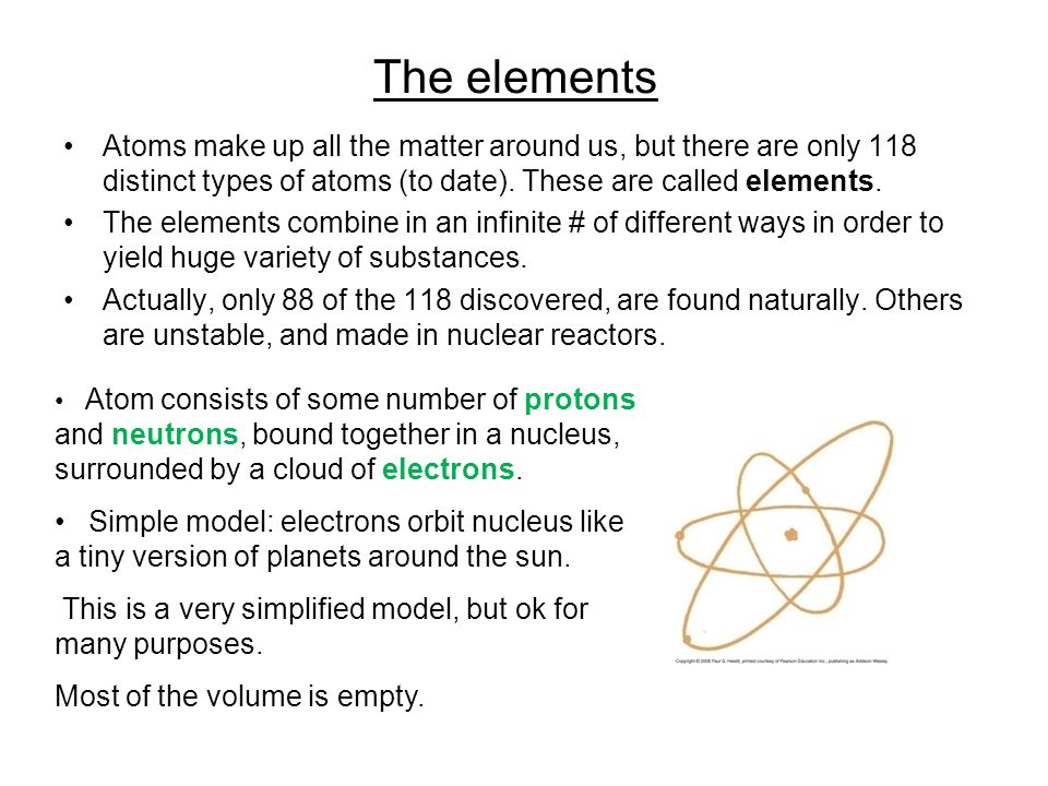 More about atoms Simplest element is hydrogen: one proton, no neutrons, one electron (see more later).