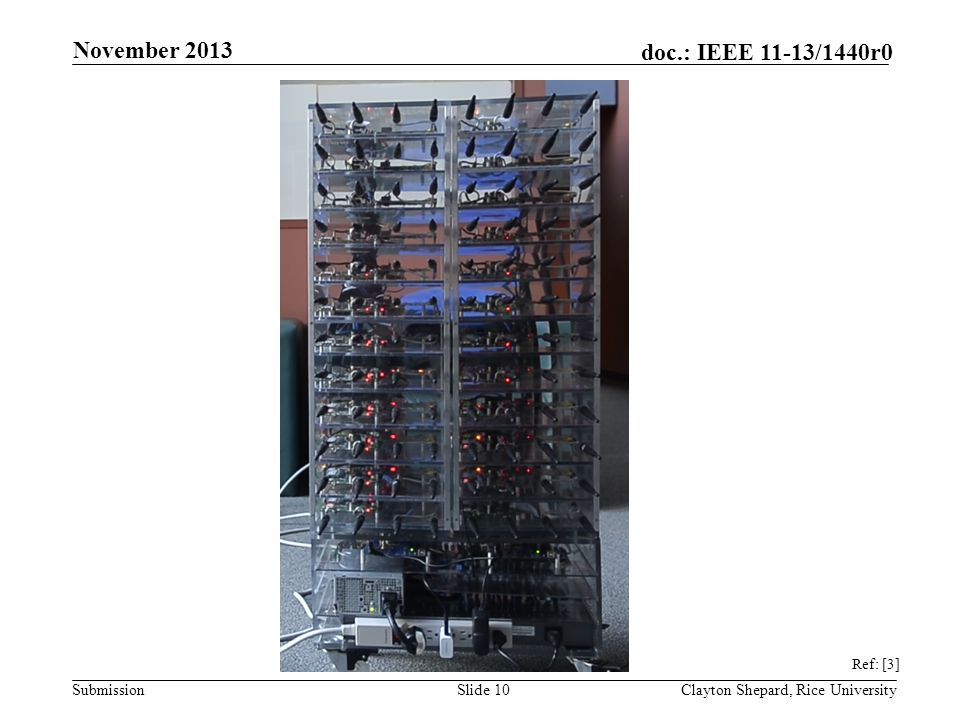 Submission doc.: IEEE 11-13/1440r0 Slide 10Clayton Shepard, Rice University November 2013 Ref: [3]