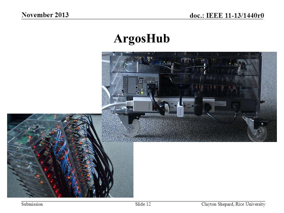 Submission doc.: IEEE 11-13/1440r0 ArgosHub Slide 12Clayton Shepard, Rice University November 2013