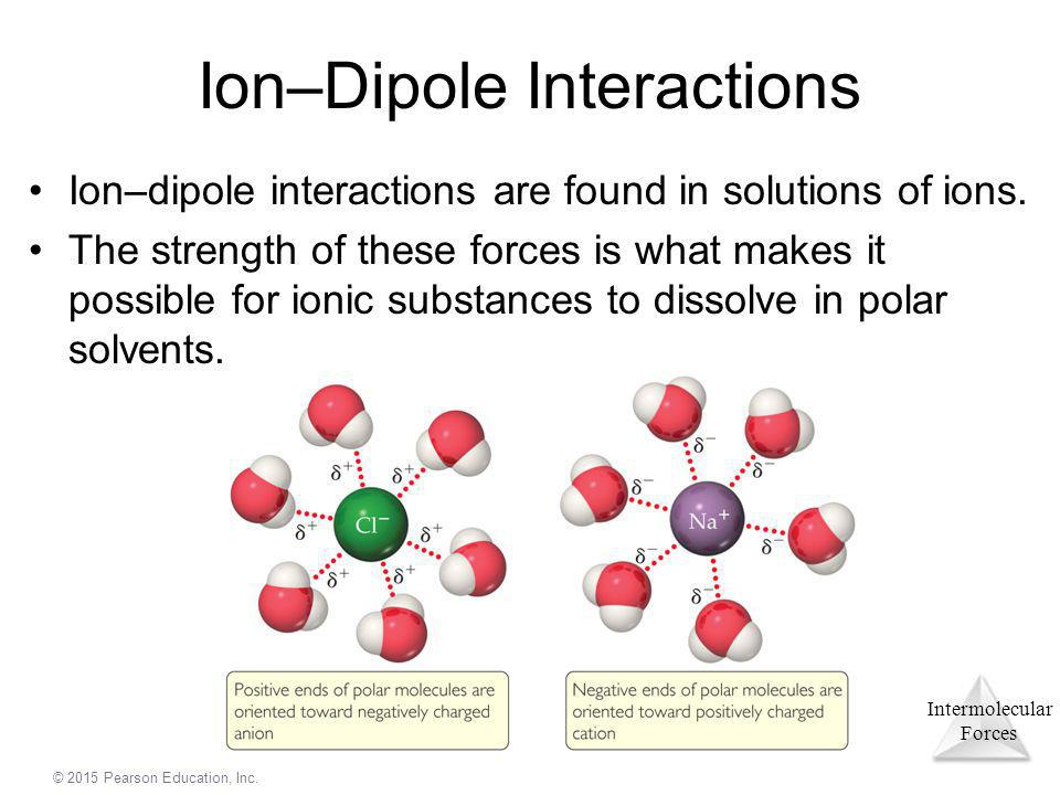 Intermolecular Forces © 2015 Pearson Education, Inc. Ion–Dipole Interactions Ion–dipole interactions are found in solutions of ions. The strength of t