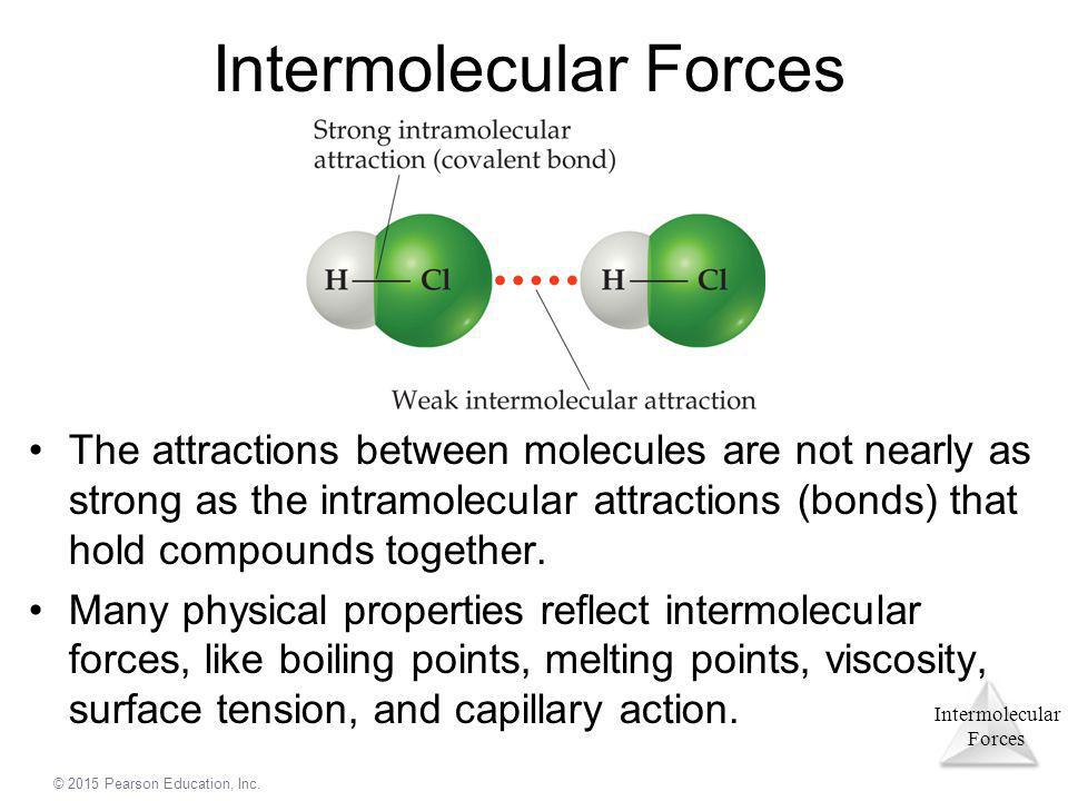 Intermolecular Forces © 2015 Pearson Education, Inc. Intermolecular Forces The attractions between molecules are not nearly as strong as the intramole