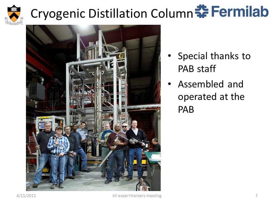 Cryogenic Distillation Column 4/11/2011All experimenters meeting7 Special thanks to PAB staff Assembled and operated at the PAB
