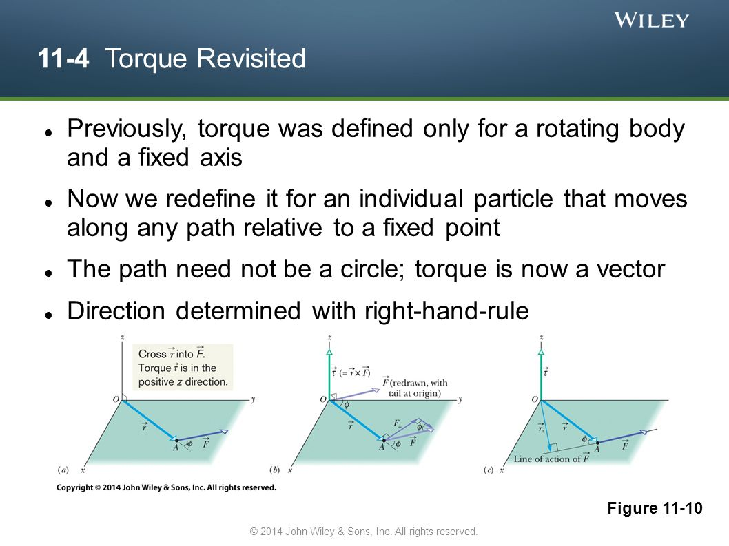 11-4 Torque Revisited Previously, torque was defined only for a rotating body and a fixed axis Now we redefine it for an individual particle that move