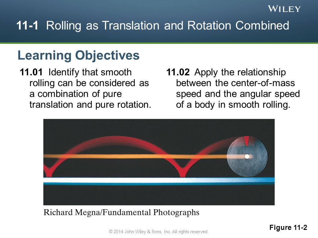 11-1 Rolling as Translation and Rotation Combined 11.01 Identify that smooth rolling can be considered as a combination of pure translation and pure r