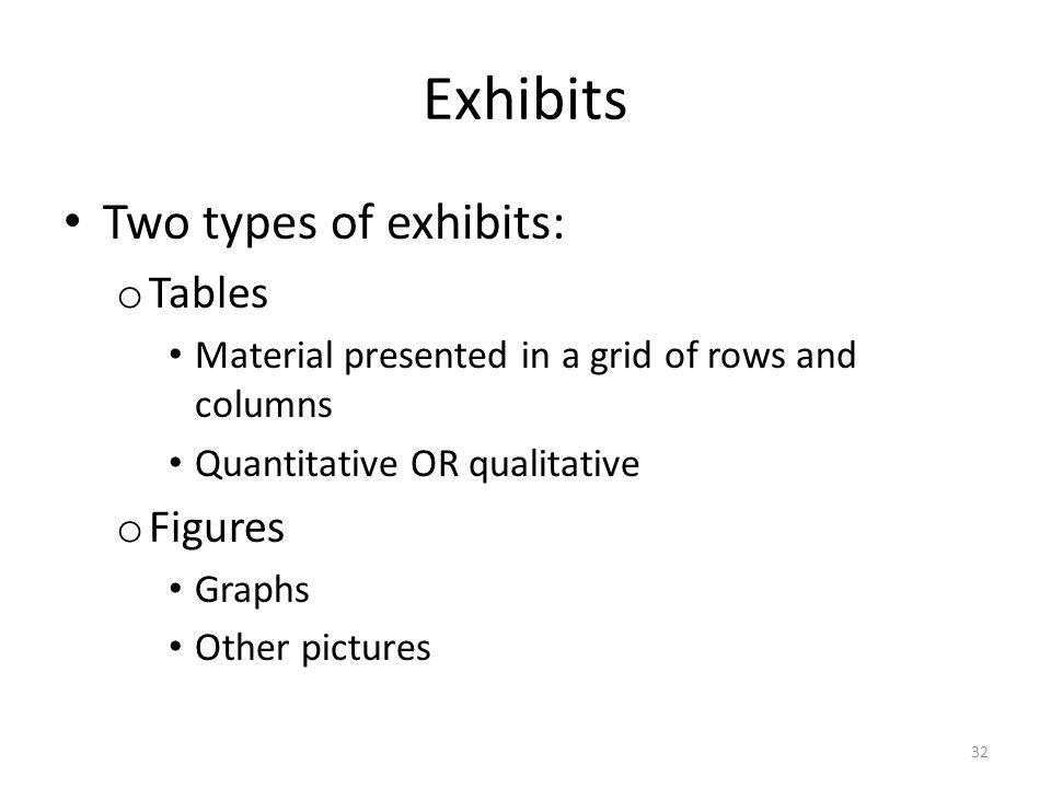 Exhibits Two types of exhibits: o Tables Material presented in a grid of rows and columns Quantitative OR qualitative o Figures Graphs Other pictures 32