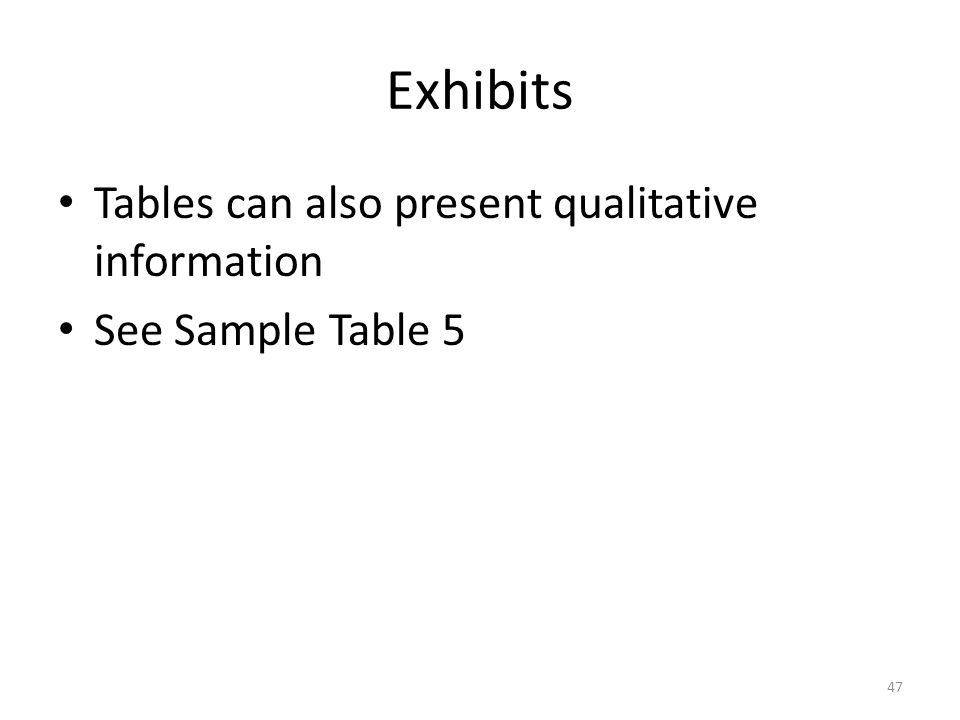 Exhibits Tables can also present qualitative information See Sample Table 5 47