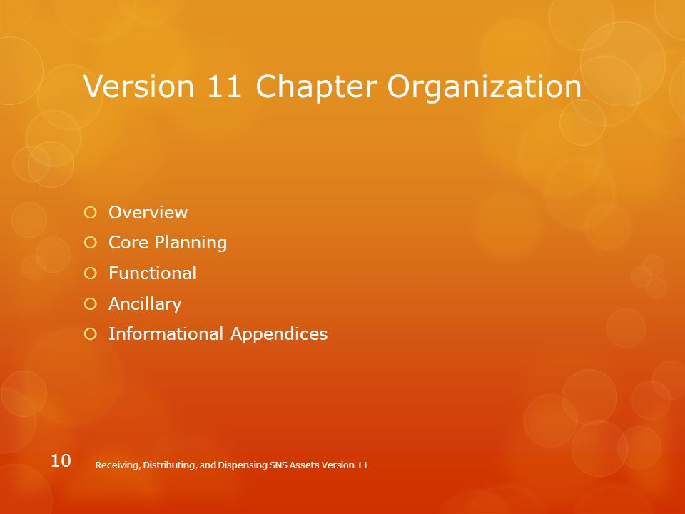 Version 11 Chapter Organization  Overview  Core Planning  Functional  Ancillary  Informational Appendices Receiving, Distributing, and Dispensing