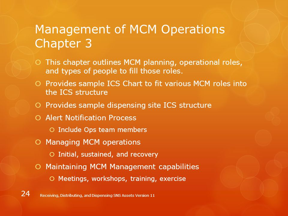 Management of MCM Operations Chapter 3  This chapter outlines MCM planning, operational roles, and types of people to fill those roles.  Provides sa
