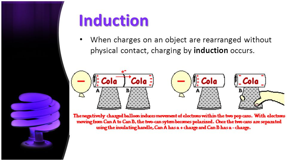 Induction When charges on an object are rearranged without physical contact, charging by induction occurs.