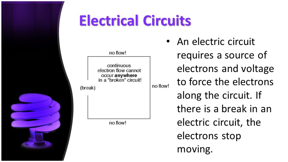 Electrical Circuits An electric circuit requires a source of electrons and voltage to force the electrons along the circuit. If there is a break in an