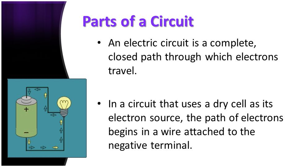 Parts of a Circuit An electric circuit is a complete, closed path through which electrons travel. In a circuit that uses a dry cell as its electron so