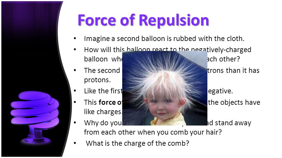 Force of Repulsion Imagine a second balloon is rubbed with the cloth. How will this balloon react to the negatively-charged balloon when they are brou