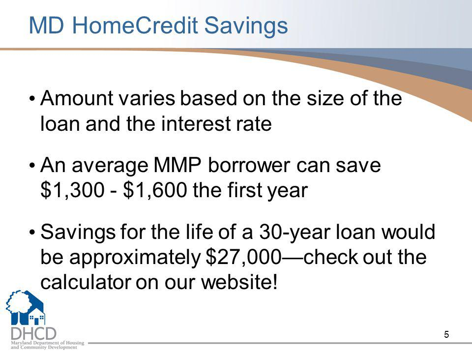 5 MD HomeCredit Savings Amount varies based on the size of the loan and the interest rate An average MMP borrower can save $1,300 - $1,600 the first year Savings for the life of a 30-year loan would be approximately $27,000—check out the calculator on our website!