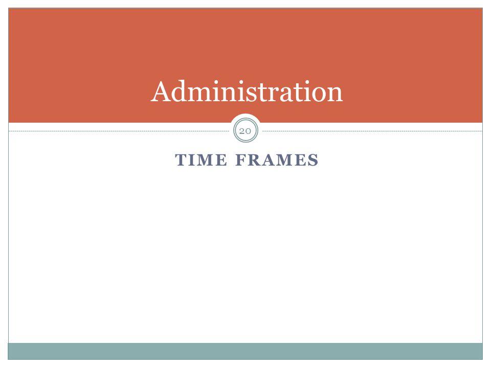 TIME FRAMES Administration 20