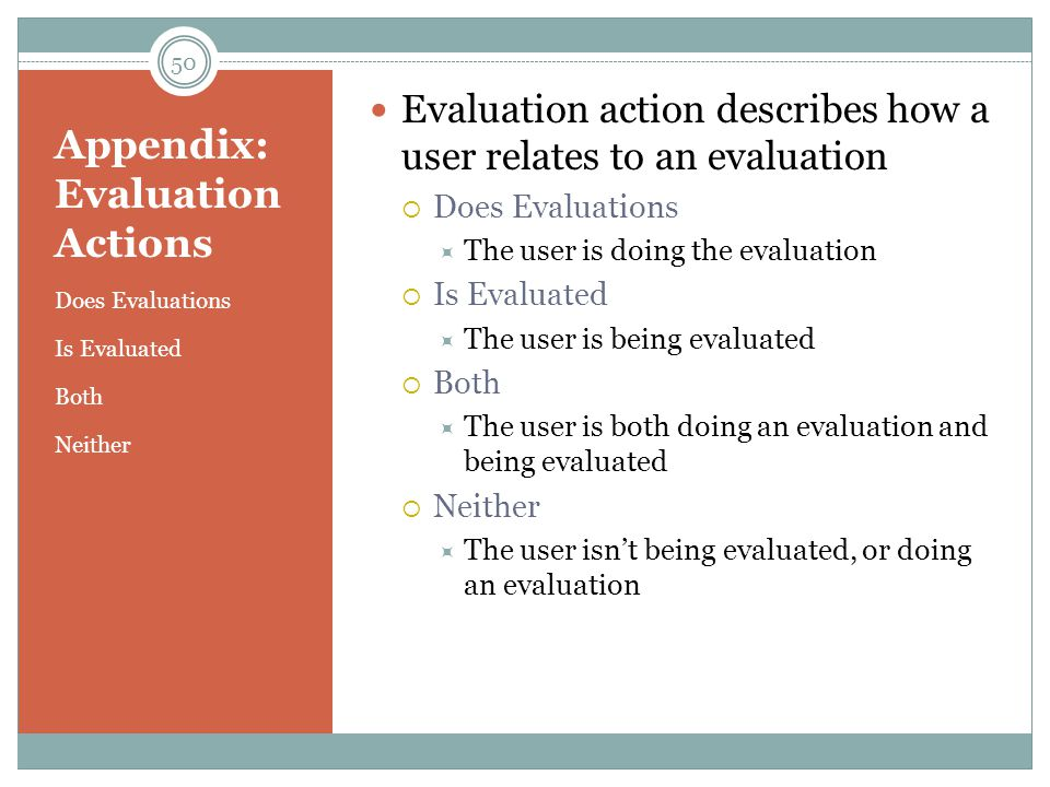 Appendix: Evaluation Actions Does Evaluations Is Evaluated Both Neither Evaluation action describes how a user relates to an evaluation  Does Evaluations  The user is doing the evaluation  Is Evaluated  The user is being evaluated  Both  The user is both doing an evaluation and being evaluated  Neither  The user isn't being evaluated, or doing an evaluation 50