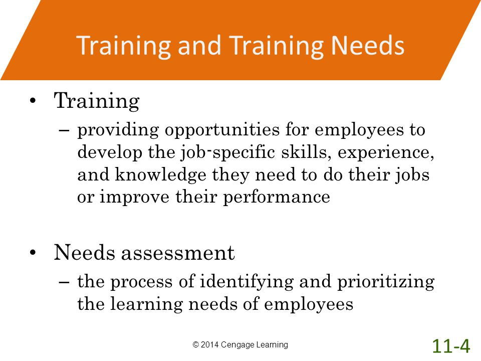 Training and Training Needs Training – providing opportunities for employees to develop the job-specific skills, experience, and knowledge they need t