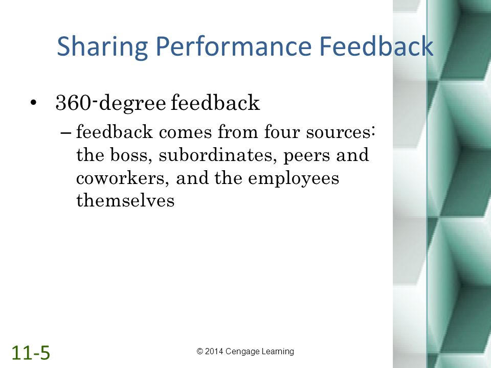 Sharing Performance Feedback 360-degree feedback – feedback comes from four sources: the boss, subordinates, peers and coworkers, and the employees th
