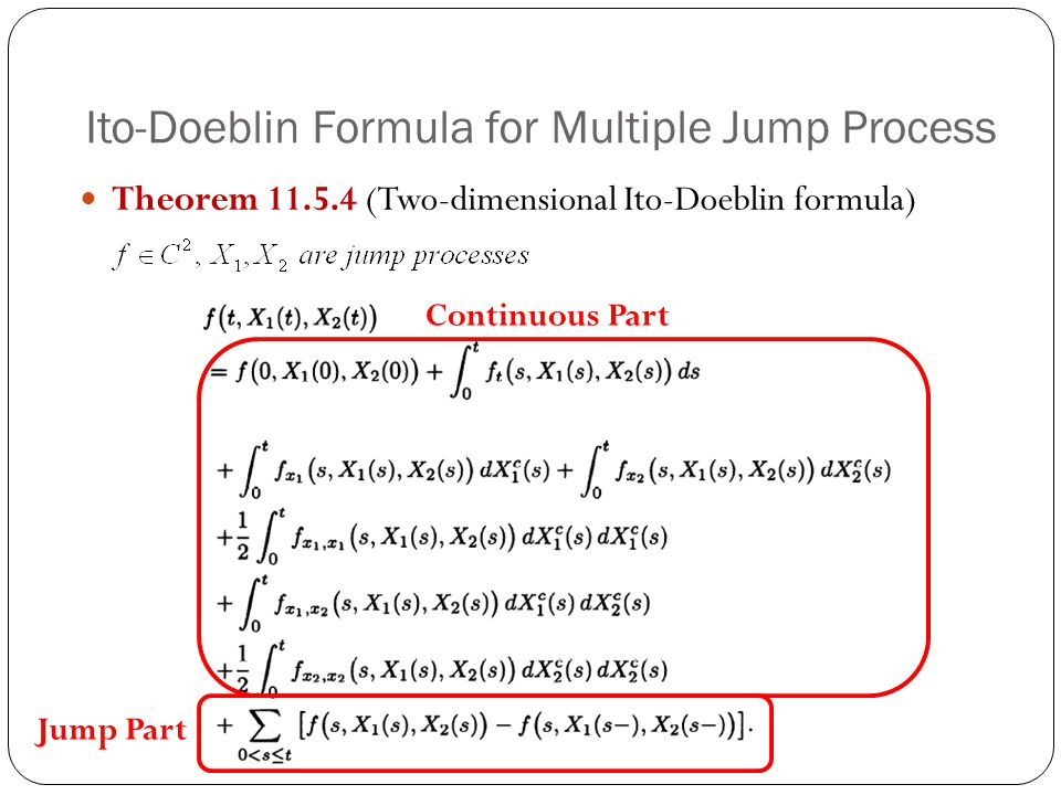 Ito-Doeblin Formula for Multiple Jump Process Theorem 11.5.4 (Two-dimensional Ito-Doeblin formula) Continuous Part Jump Part