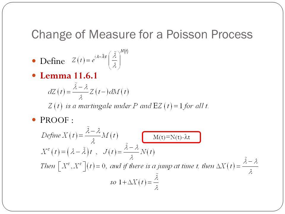 Change of Measure for a Poisson Process Define Lemma 11.6.1 P ROOF : M(t)=N(t)- λ t