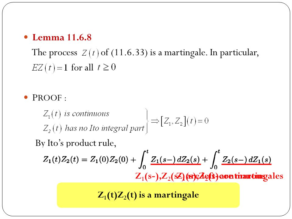 Lemma 11.6.8 The process of (11.6.33) is a martingale.