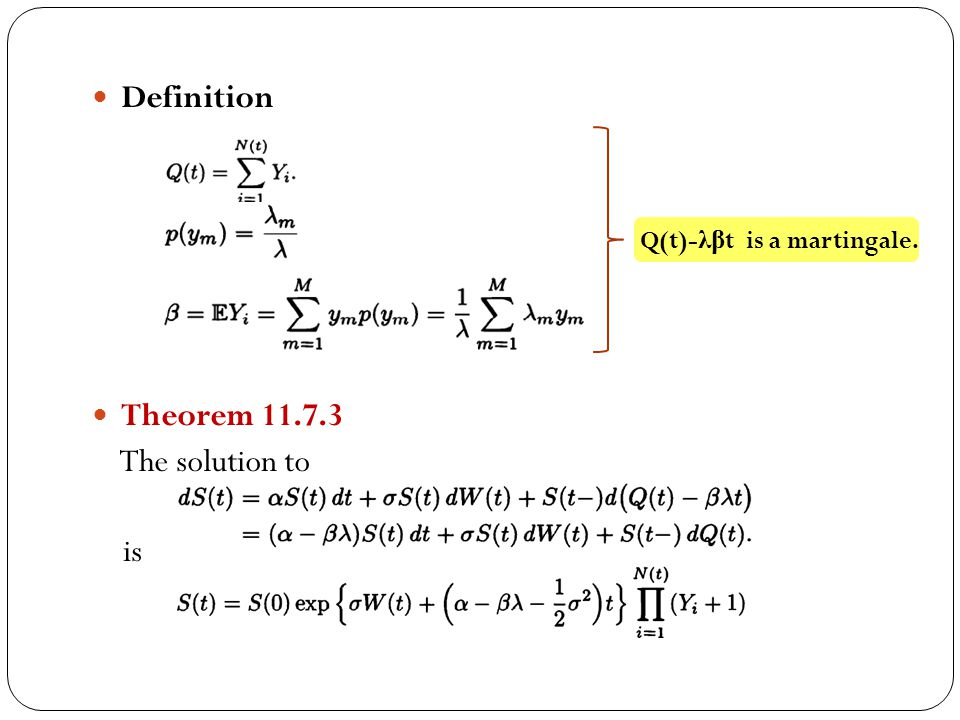 Definition Theorem 11.7.3 The solution to is Q(t)- λβ t is a martingale.