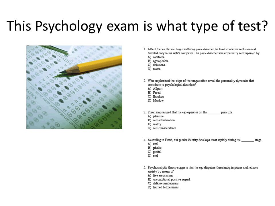 This Psychology exam is what type of test?