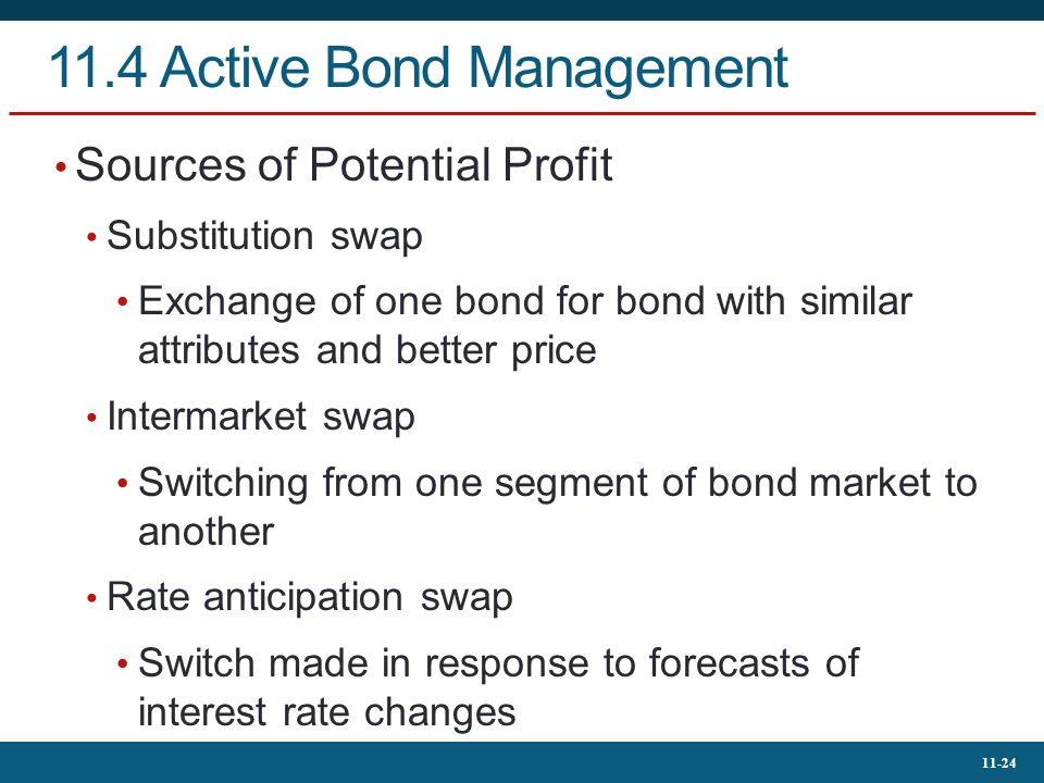 11-24 11.4 Active Bond Management Sources of Potential Profit Substitution swap Exchange of one bond for bond with similar attributes and better price