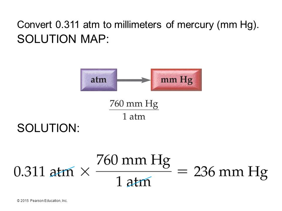 © 2015 Pearson Education, Inc. Convert 0.311 atm to millimeters of mercury (mm Hg). SOLUTION MAP: SOLUTION: