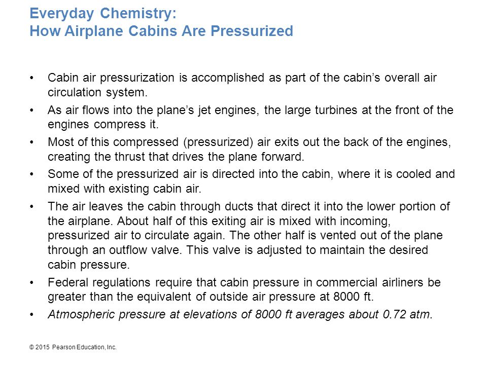 © 2015 Pearson Education, Inc. Cabin air pressurization is accomplished as part of the cabin's overall air circulation system. As air flows into the p