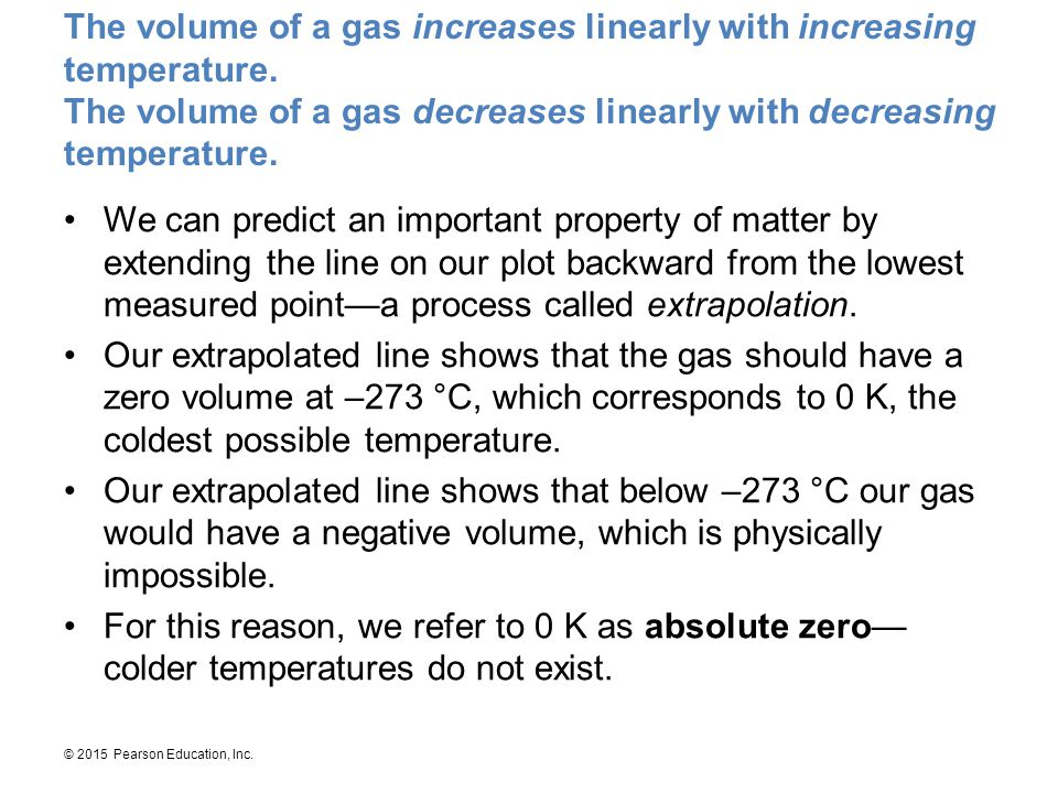 © 2015 Pearson Education, Inc. The volume of a gas increases linearly with increasing temperature. The volume of a gas decreases linearly with decreas