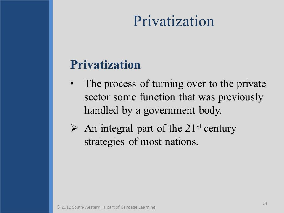 Privatization The process of turning over to the private sector some function that was previously handled by a government body.  An integral part of