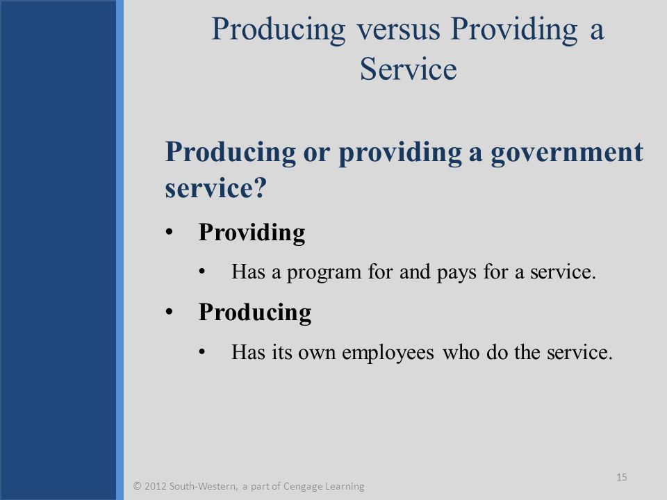 Producing versus Providing a Service Producing or providing a government service? Providing Has a program for and pays for a service. Producing Has it
