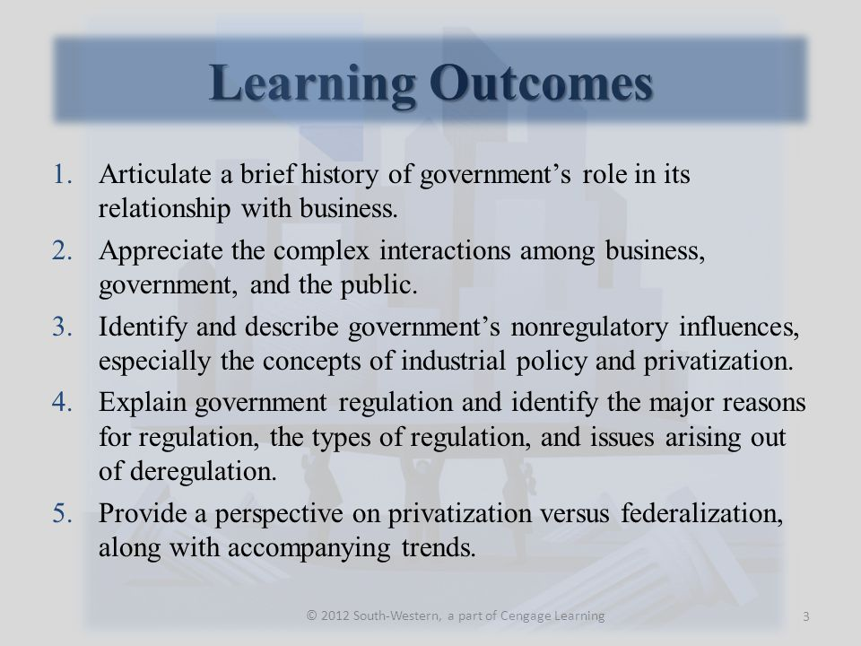 Learning Outcomes © 2012 South-Western, a part of Cengage Learning 1.Articulate a brief history of government's role in its relationship with business