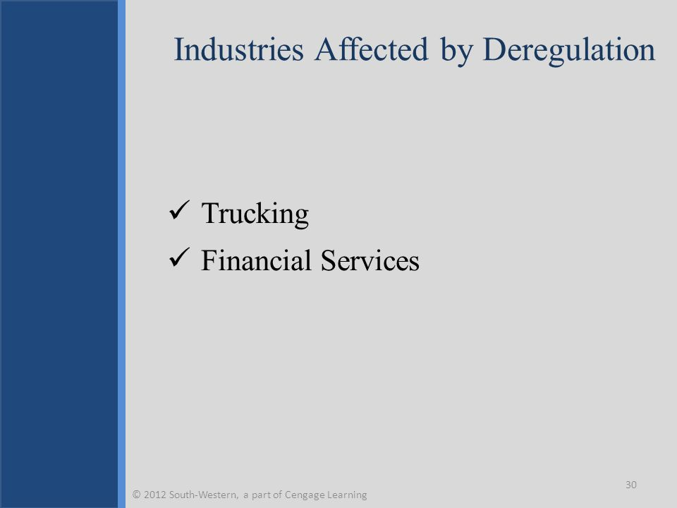 Industries Affected by Deregulation Trucking Financial Services 30 © 2012 South-Western, a part of Cengage Learning
