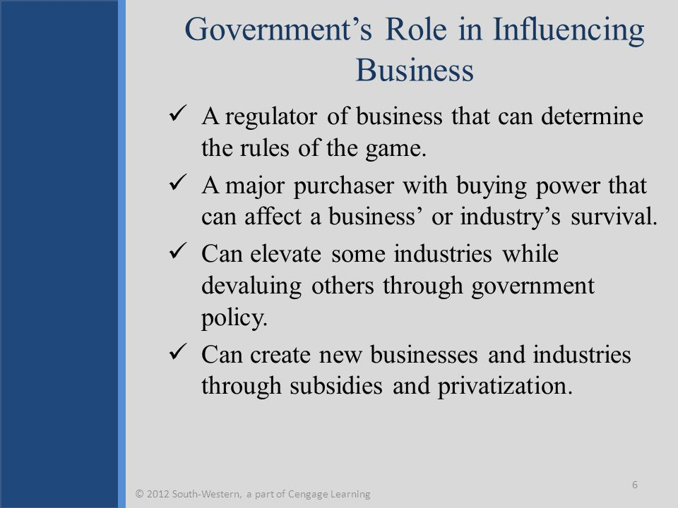Government's Role in Influencing Business A regulator of business that can determine the rules of the game. A major purchaser with buying power that c