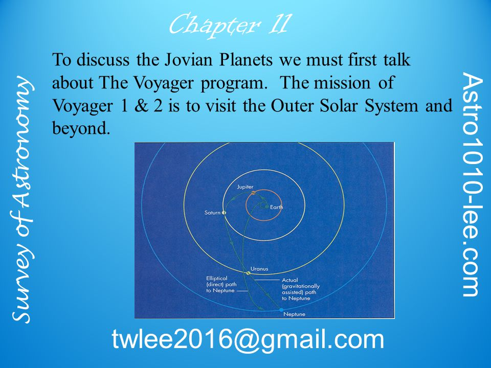 Survey of Astronomy Astro1010-lee.com twlee2016@gmail.com Chapter 11 To discuss the Jovian Planets we must first talk about The Voyager program.