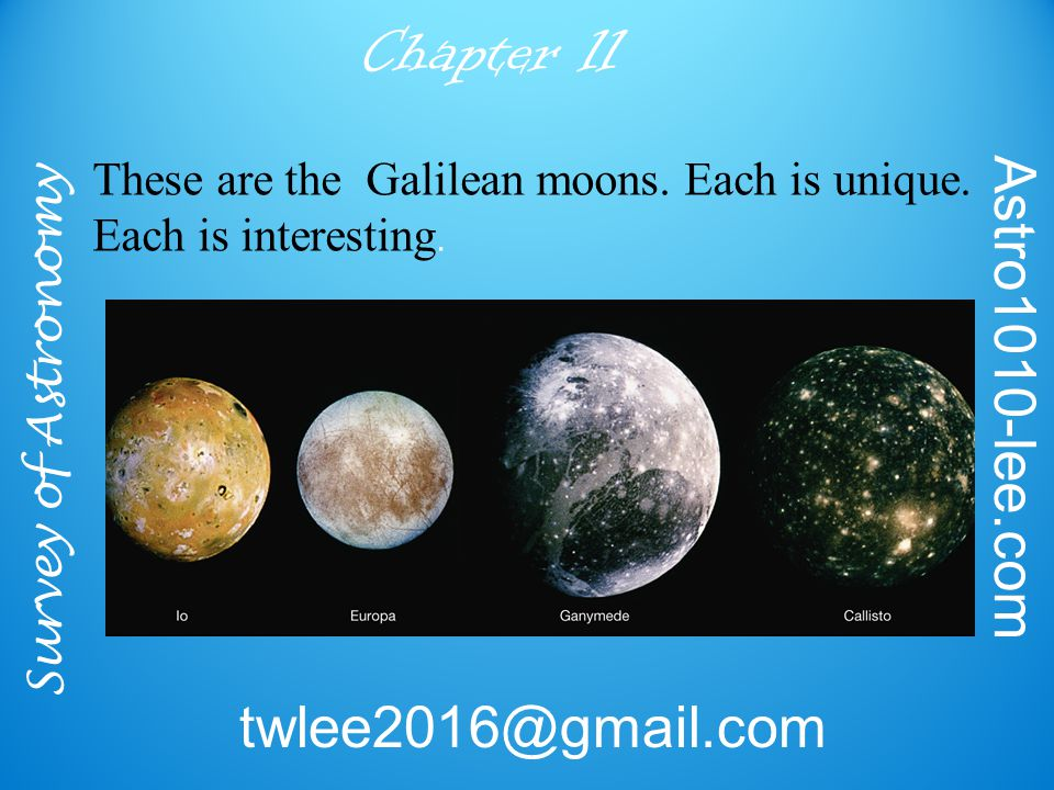 Survey of Astronomy Astro1010-lee.com twlee2016@gmail.com Chapter 11 These are the Galilean moons.