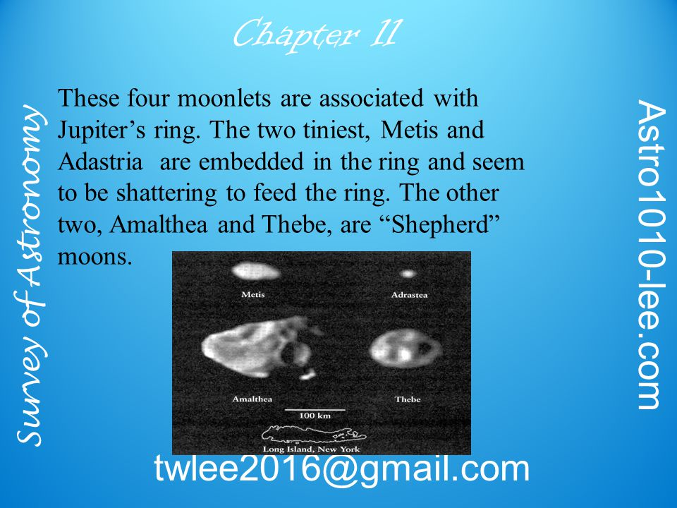 Survey of Astronomy Astro1010-lee.com twlee2016@gmail.com Chapter 11 These four moonlets are associated with Jupiter's ring.