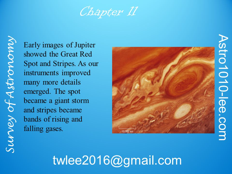 Survey of Astronomy Astro1010-lee.com twlee2016@gmail.com Chapter 11 Early images of Jupiter showed the Great Red Spot and Stripes.