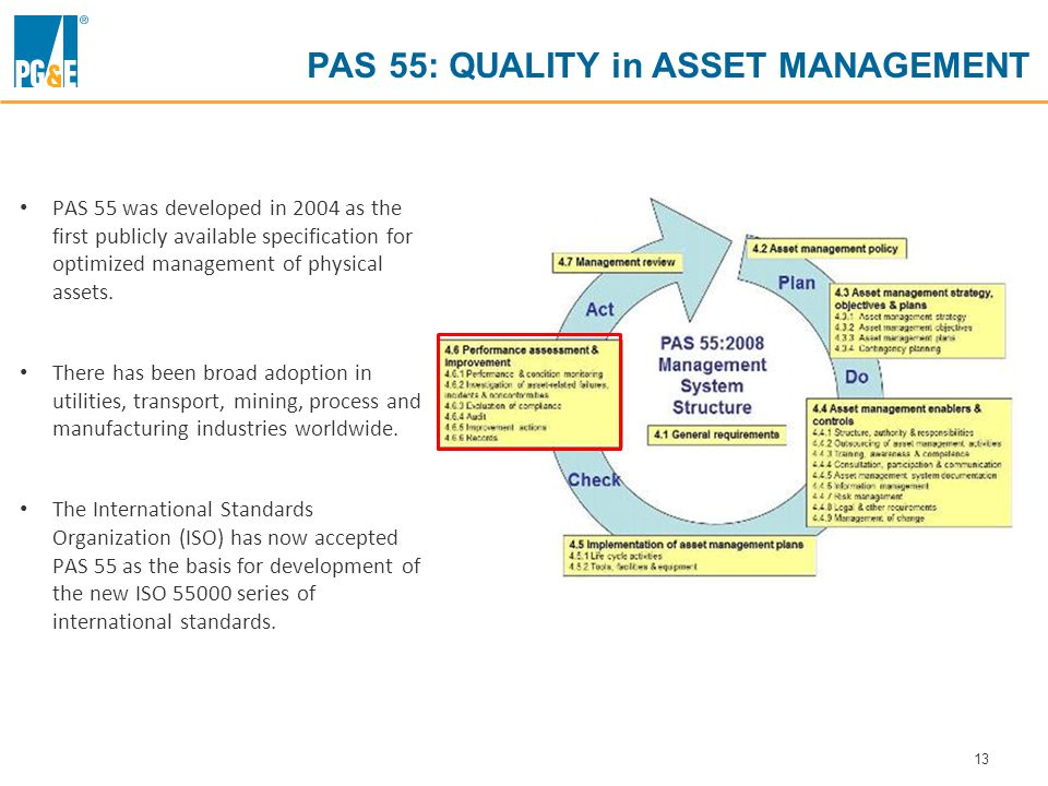 13 PAS 55: QUALITY in ASSET MANAGEMENT PAS 55 was developed in 2004 as the first publicly available specification for optimized management of physical assets.