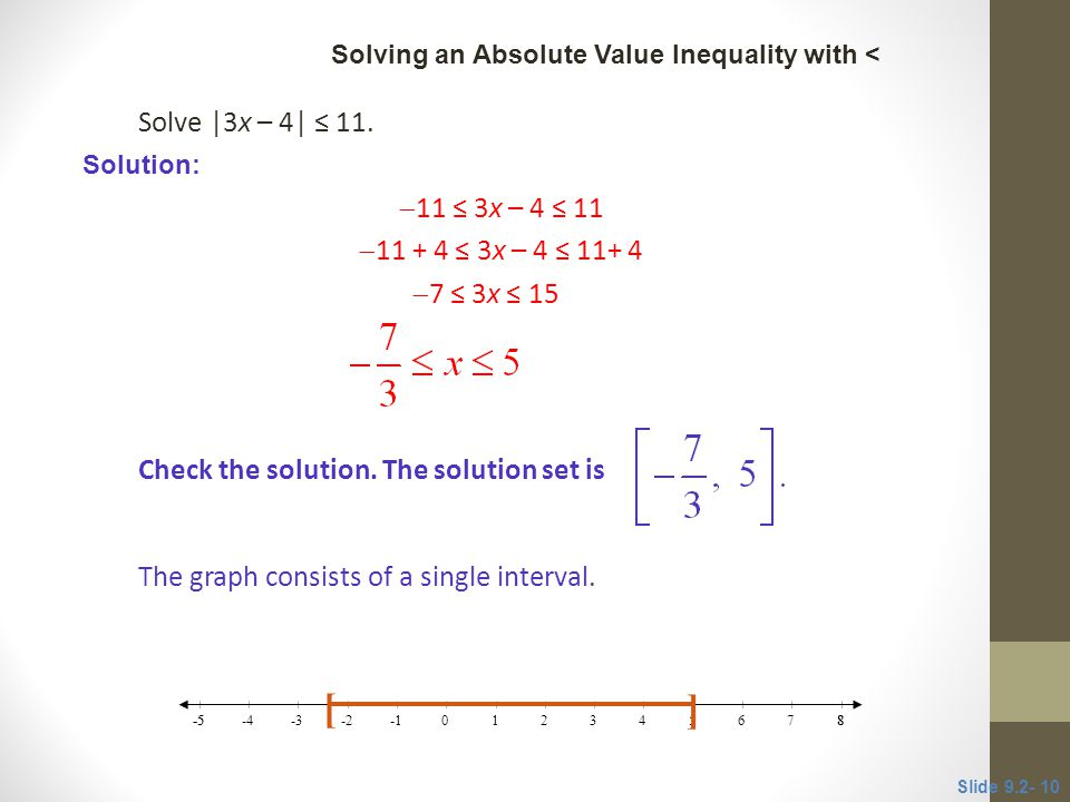 Solve |3x – 4| ≤ 11.  11 ≤ 3x – 4 ≤ 11  11 + 4 ≤ 3x – 4 ≤ 11+ 4  7 ≤ 3x ≤ 15 Check the solution. The solution set is The graph consists of a single
