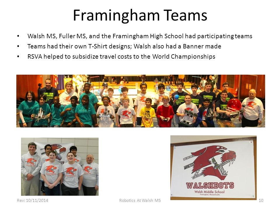 Framingham Teams Walsh MS, Fuller MS, and the Framingham High School had participating teams Teams had their own T-Shirt designs; Walsh also had a Ban