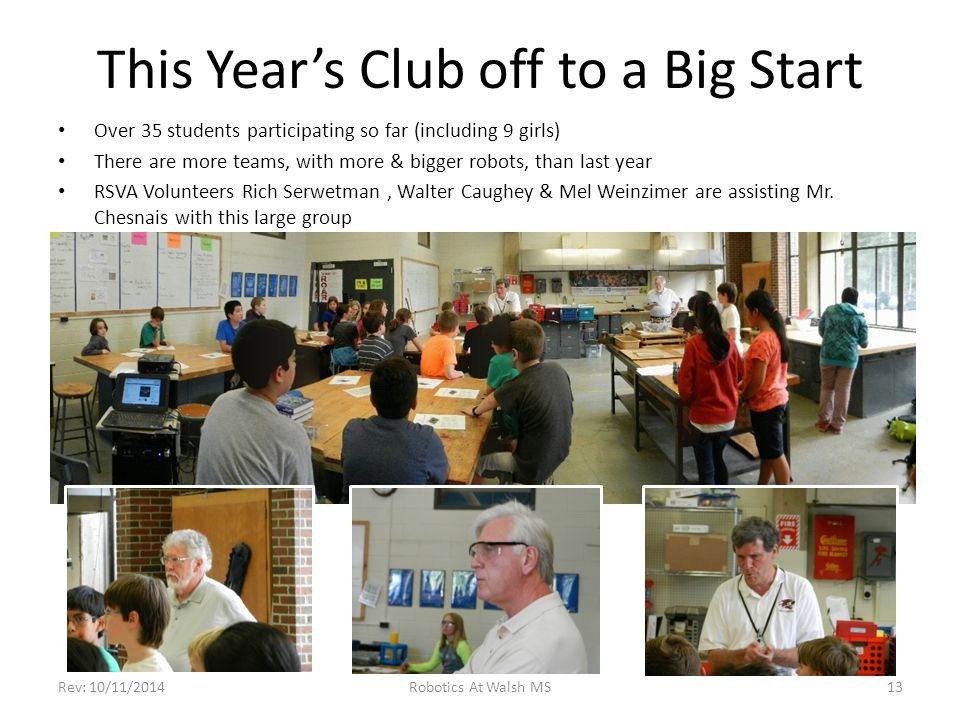 This Year's Club off to a Big Start Over 35 students participating so far (including 9 girls) There are more teams, with more & bigger robots, than la